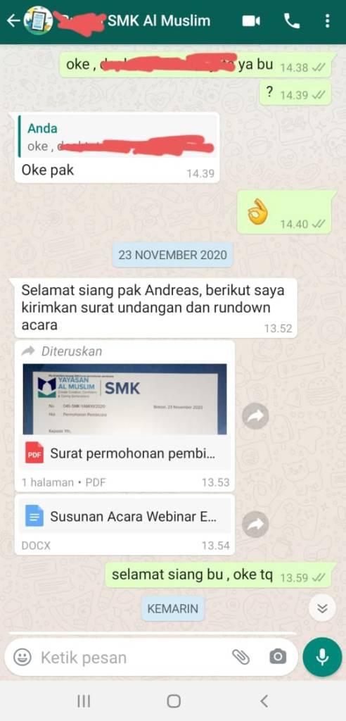 Pembicara Webinar Digital Marketing SMK Al Muslim Bekasi