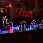 On one of the conveyors I drew a mystical sea creature with my soldered LED lights.
