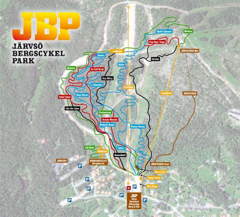 Järvsö Bergscykel Park Trail map