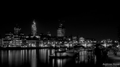The skyline around the northbank of London Bridge shot from the southbank end of Millenium Bridge