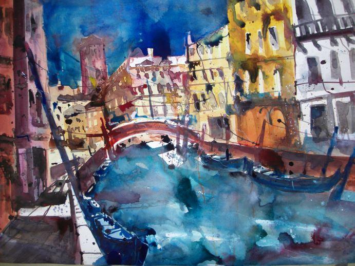 Venedig Rio de San Vio - Aquarell von Andreas Mattern
