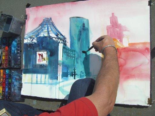 Andreas Mattern malt den Potsdamer Platz