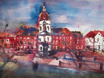 Schloss Charlottenburg rot - Aquarell auf Bütten von Andreas Mattern - 56 x 76 cm