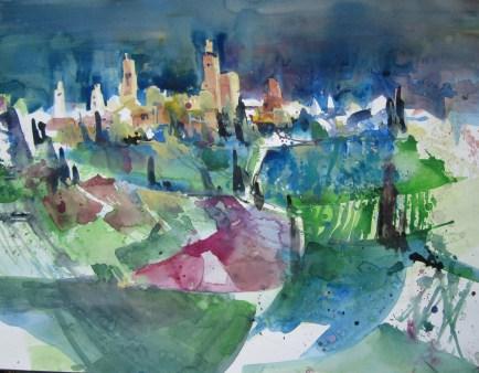 San Gimignano - Aquarell von Andreas Mattern