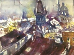 Dächer von Prag - Aquarell von Andreas Mattern
