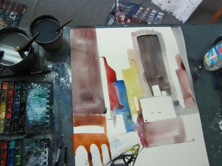 Entstehung 9th Avenue New York Aquarell von Andreas Mattern