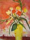 Blumen in gelber Vase - Aquarell von Andreas Mattern, 2005, 76 x 56 cm