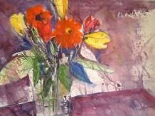 Blumen vor lila Hintergrund - Aquarell von Andreas Mattern, 2005, 76 x 56 cm