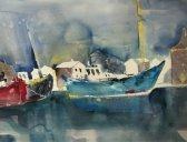 Entstehung Boote Aquarell von Andreas Mattern Teil 4