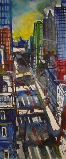 N.Y. 2006 - Aquarell von Andreas Mattern - 60 x 20 cm