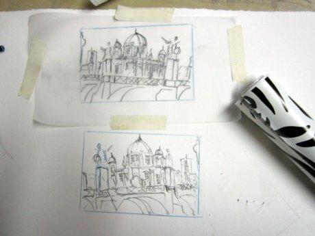Zuerst zeichne ich das Motiv, pause es auf Pergamentpapier und drehe das Pergamentpapier um