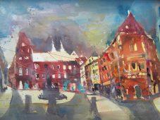 Regensburg Haidplatz, Aquarell 56/76 cm Andreas Mattern