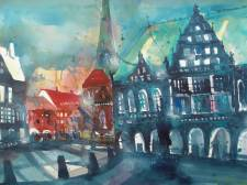 Bremen Marktplatz, Aquarell 56/76 cm ,von Andreas Mattern, Berlin