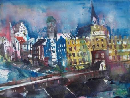 Wasserburg a. Inn, Aquarell 56/76 cm, Andreas Mattern