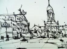 """Andreas Mattern """"Gendarmenmarkt"""" Zeichnung 34/27 cm, 2012"""