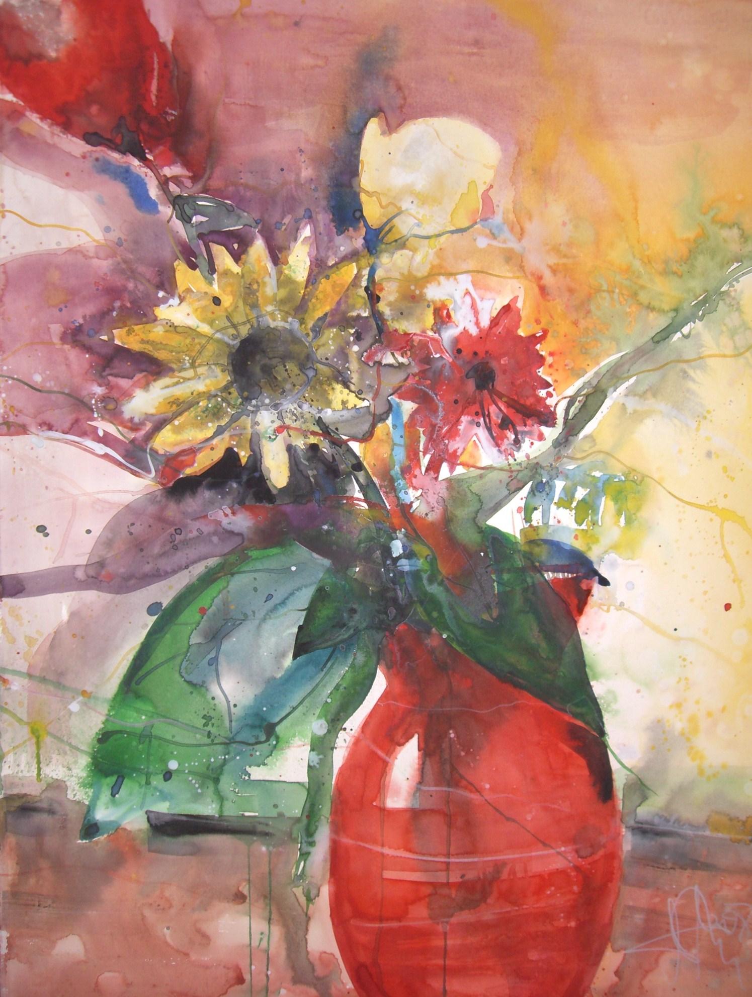 Blumen in roter Vase  Aquarell von Andreas Mattern