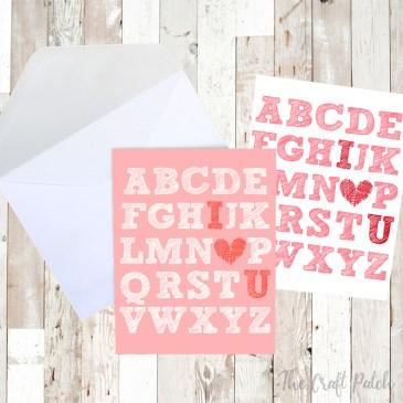 Free Printable Valentine's Day I Heart U Art