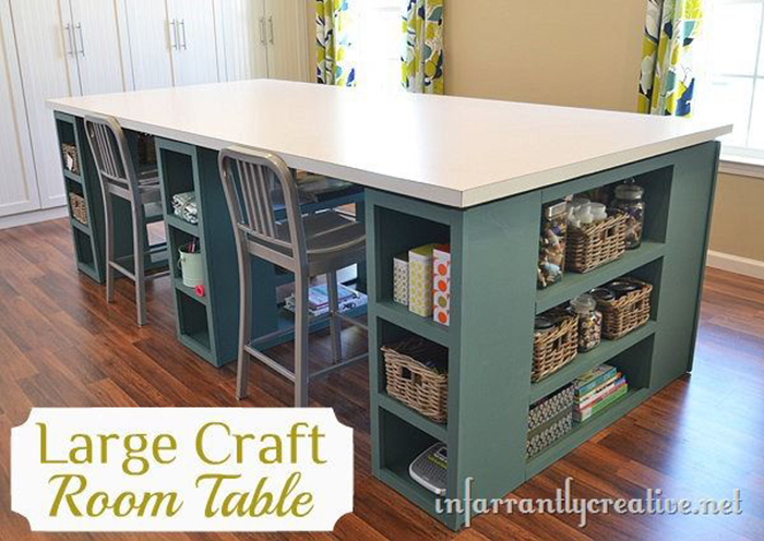 HUGE craft table DIY instructions + lots of other craft table tutorials