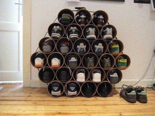 PVC pipe shoe storage solution