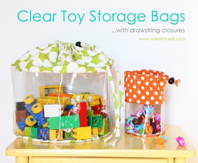 Cute storage bags and TONS of other great toy storage solutions