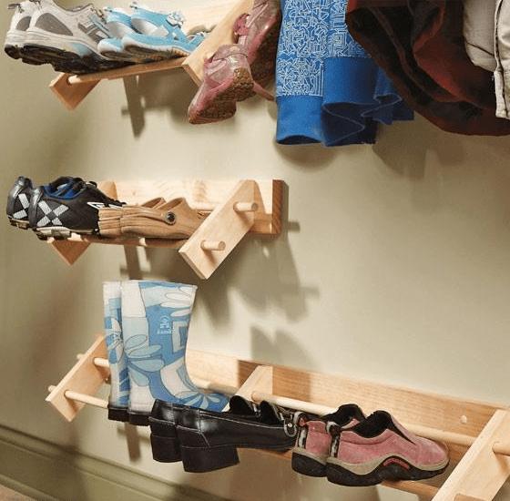 Build an easy wall shoe storage organizer