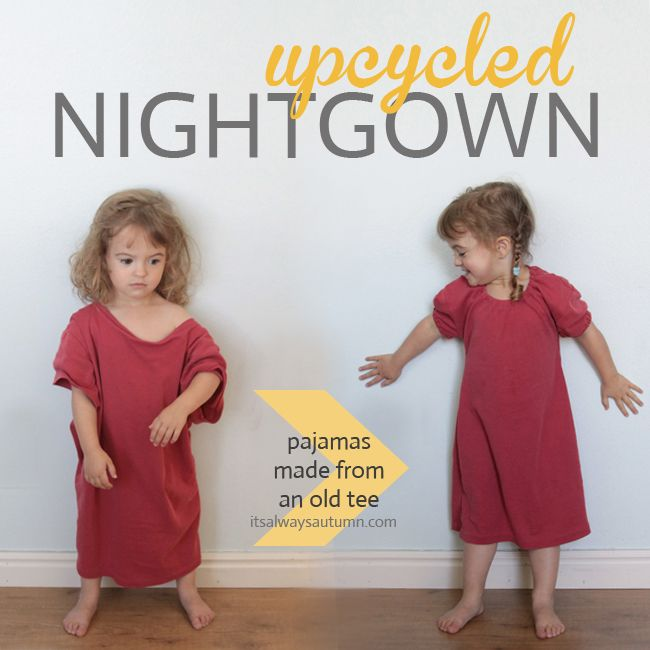 Turn a t-shirt into a little nightgown
