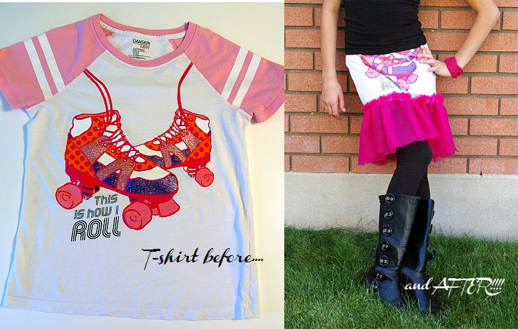 t-shirt to cute skirt upcycle