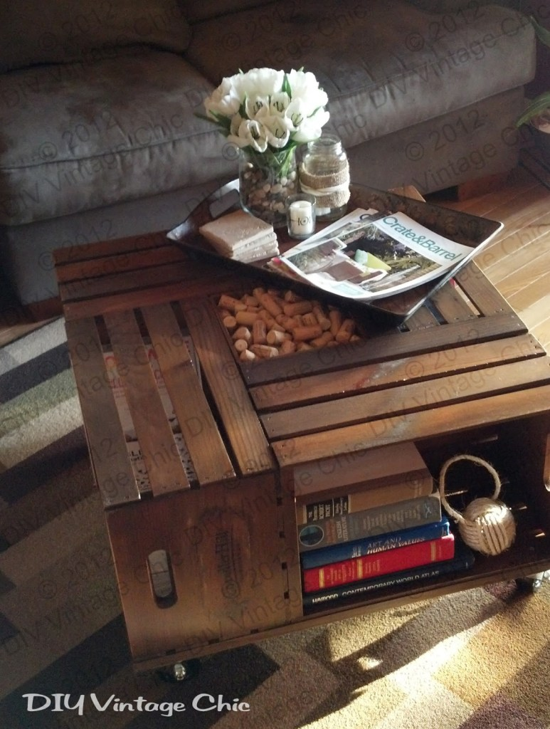 DIY crate coffee table tutorial by DIY Vintage Chic.