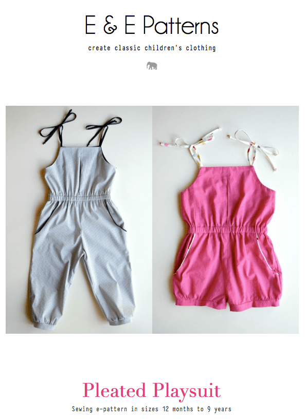 free pleated playsuit pattern by E & E