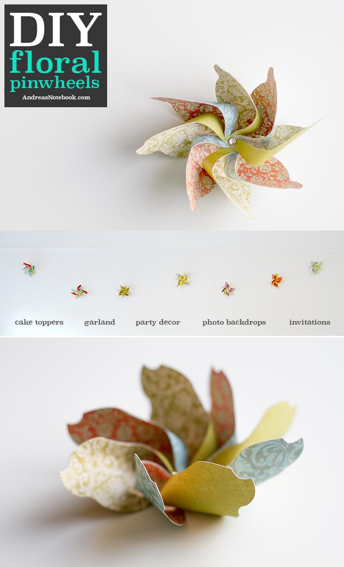 DIY floral pinwheels - FREE template - AndreasNotebook.com