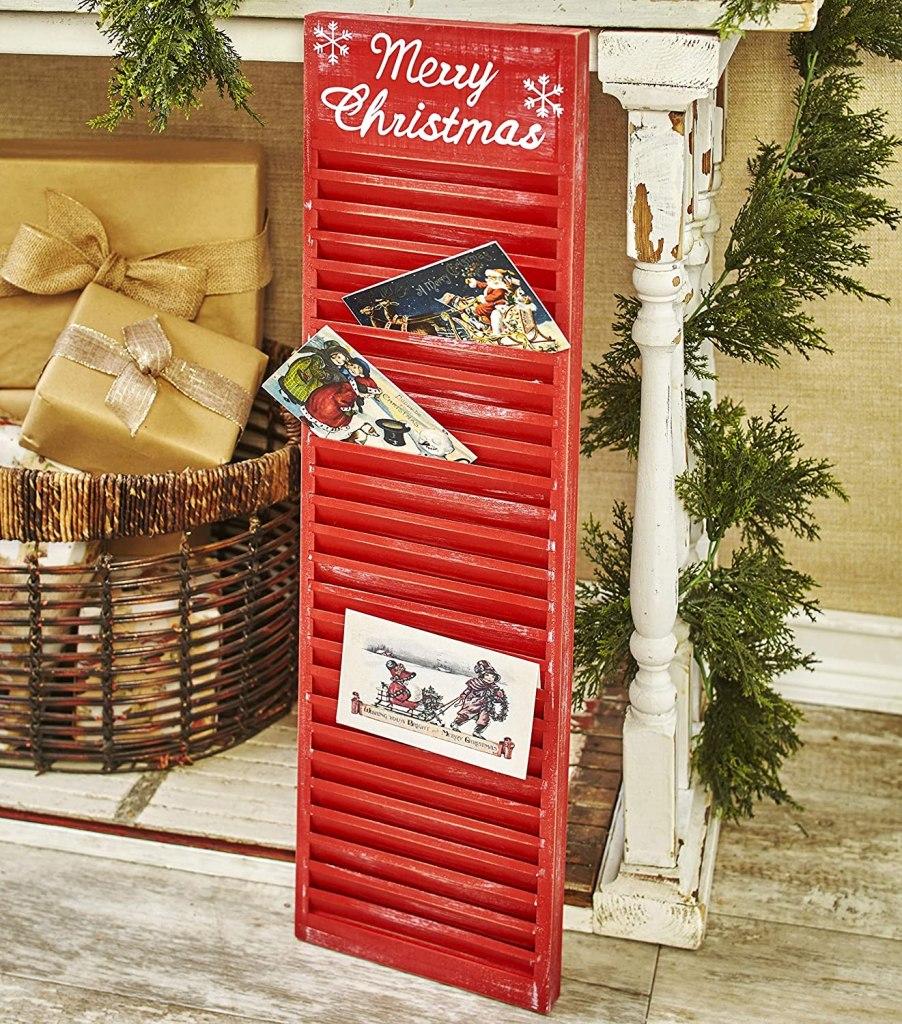 shutter christmas card holder red tree
