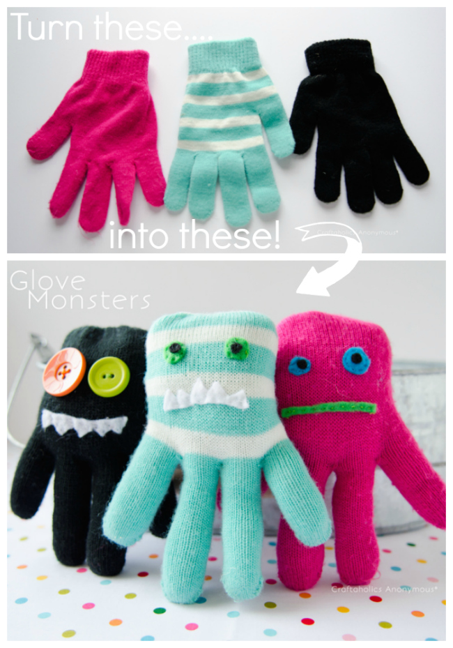 Turn gloves into cute little monsters!