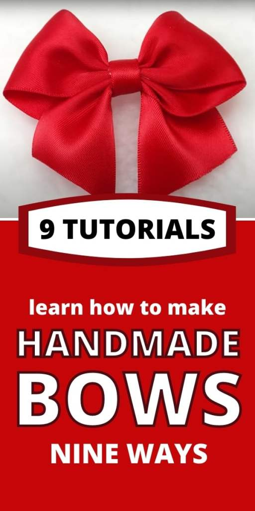 text says 9 ways to make bows - photos show bow on a gift bow on hair bow on a wreath and bow on a railing