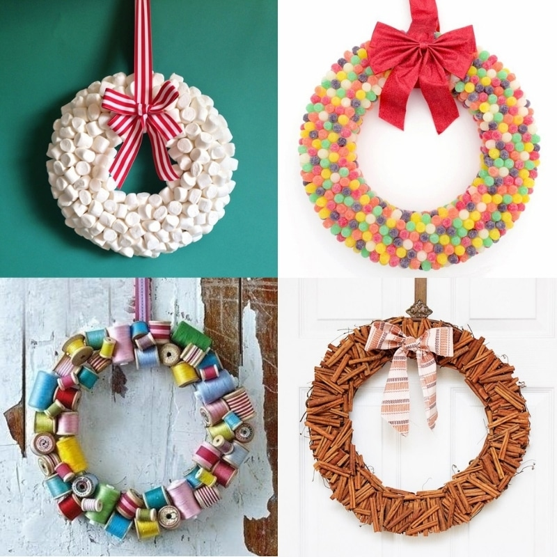 4 different wreaths made out of marshmallows, gumdrops, thread spools and cinnamon sticks