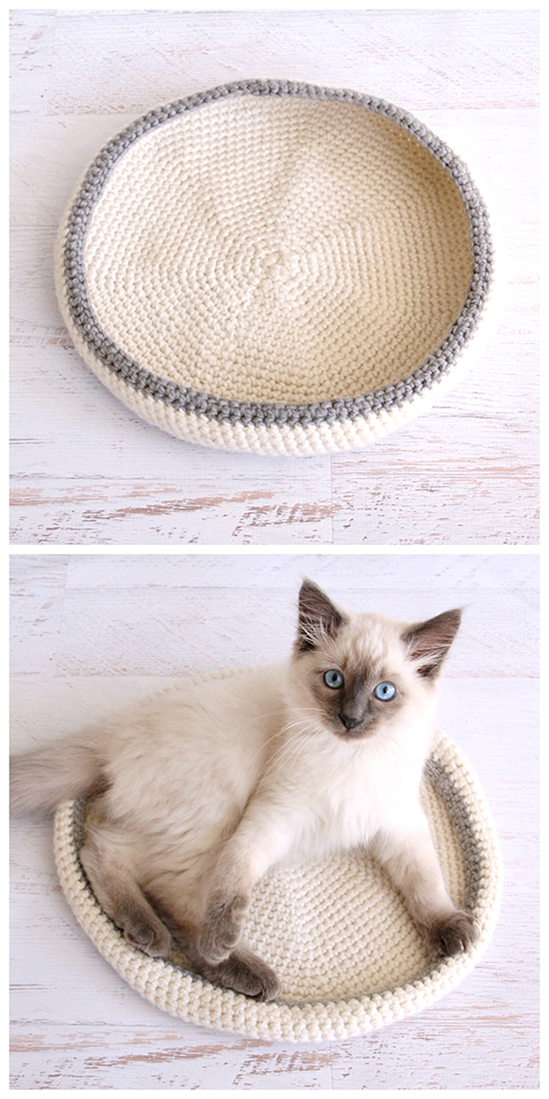 Crocheted cat bed - free pattern