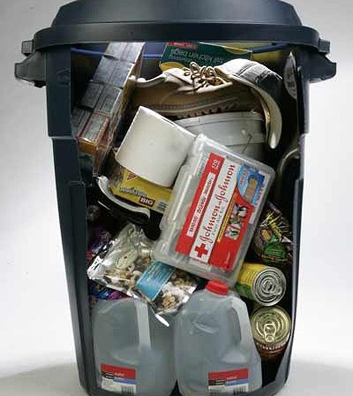 Trash can survival kit