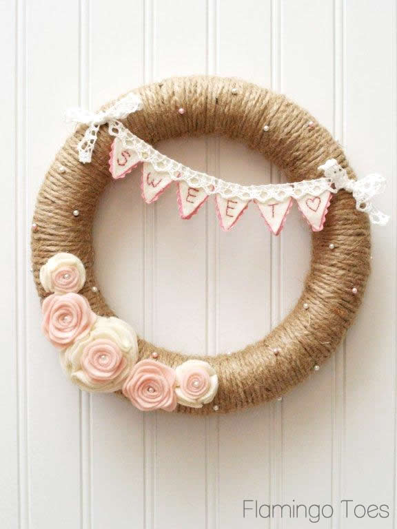 Burlap and roses wreath tutorial