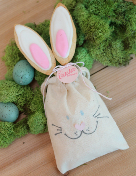 Bake bunny ear cookies on a stick and add to a bunny face bag