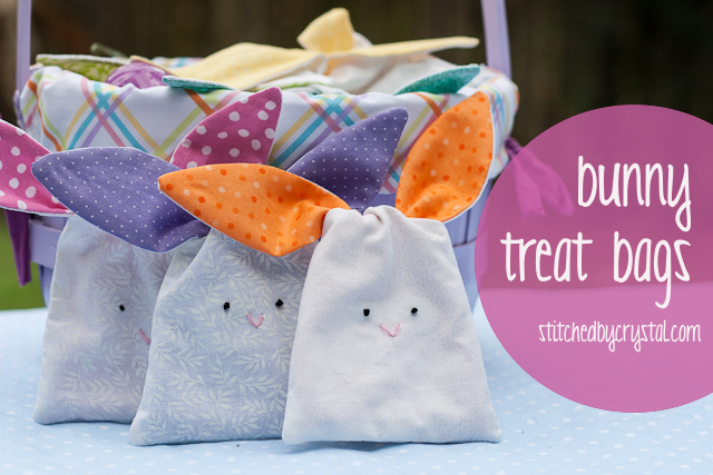 Bunny treat bag with ears that tie it closed