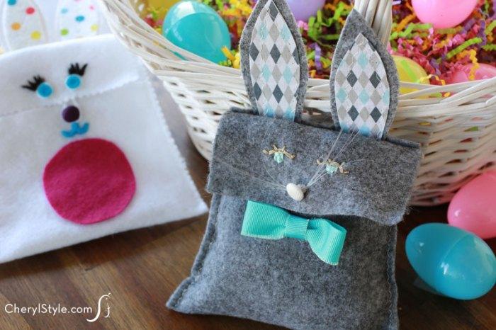 Felt bunny treat bag with bow and ears