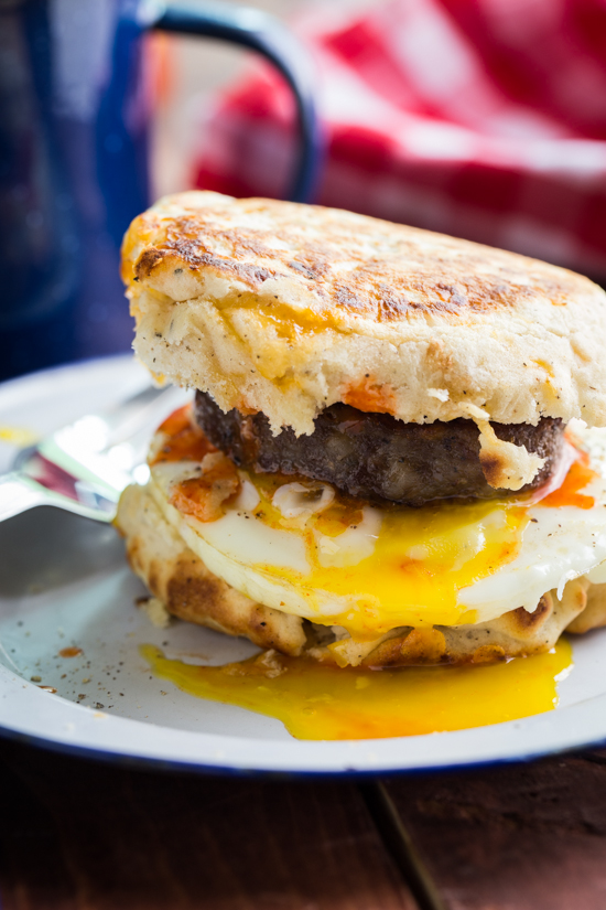 Fresh made campfire peppered biscuits with sausage and eggs! Great way to start your day.