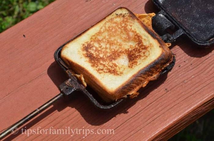 Make a hot, toasty sandwich using a pie iron.