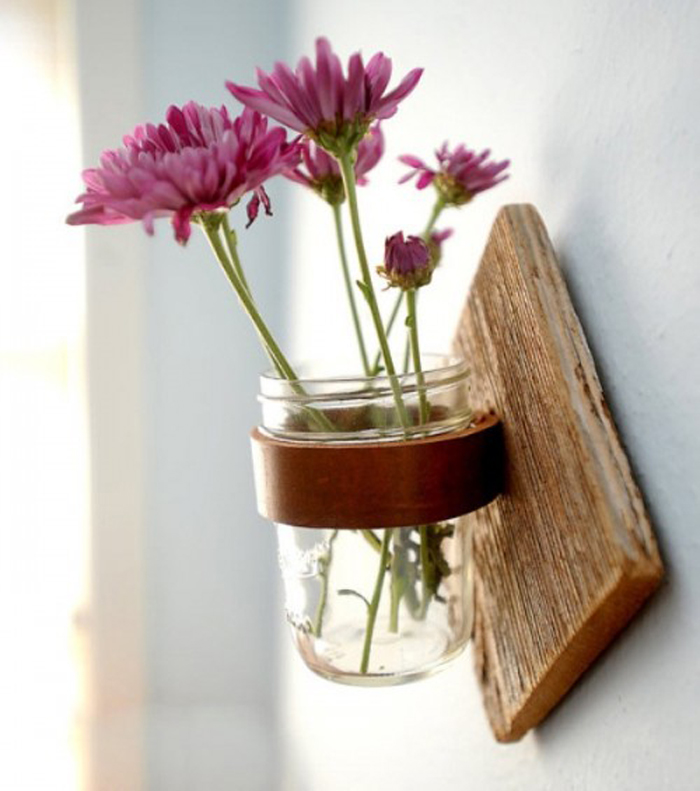 rustic wall sconce for fresh cut flowers DIY