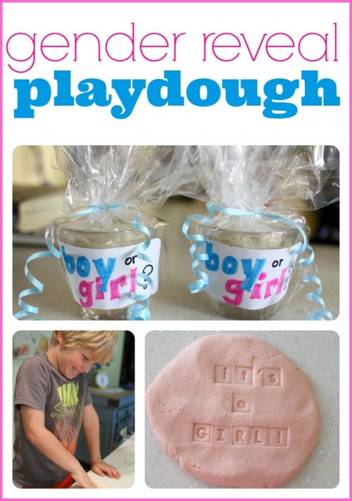 Make your own playdough to announce the gender of your baby