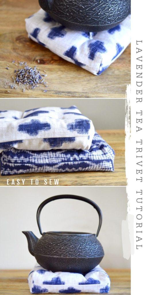 fabric tea trivet lavender black teapot