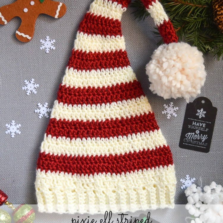 red and white striped crochet elf hat with white pompom