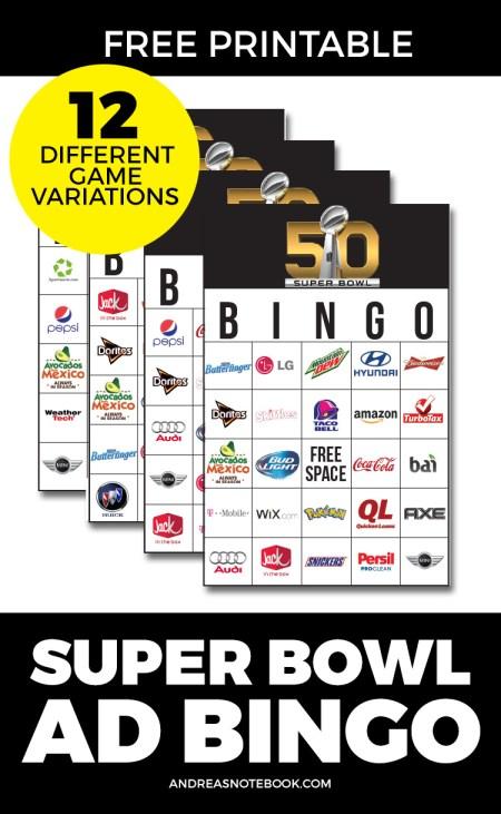 printable Super Bowl Ad Bingo