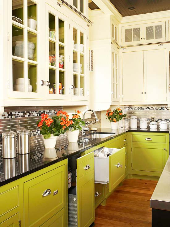 colors of kitchen cabinets 4 seat island two toned cabinet trend lime green and white