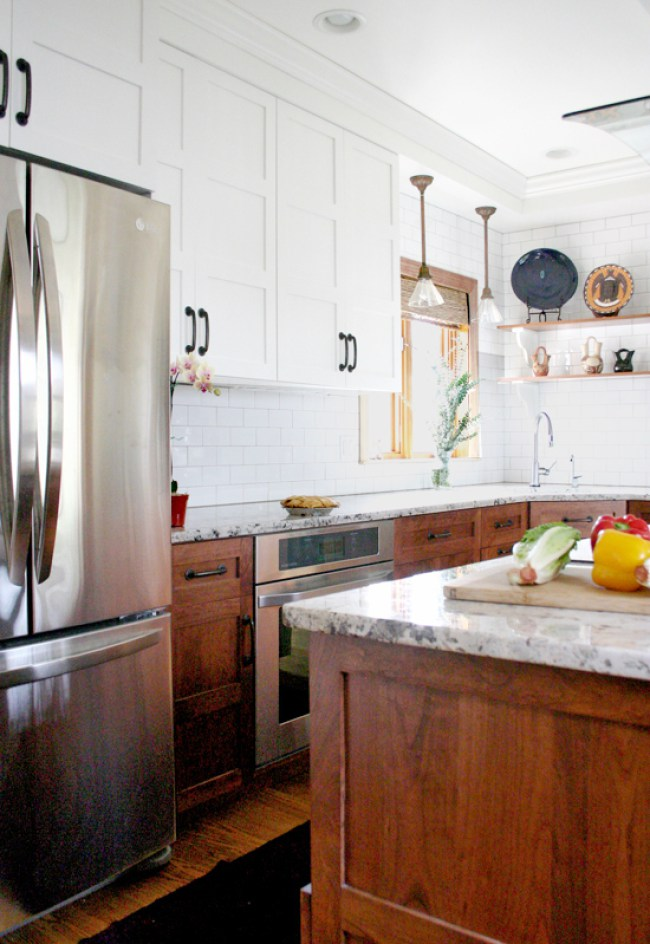 Stylish two toned kitchen cabinets - wood and white