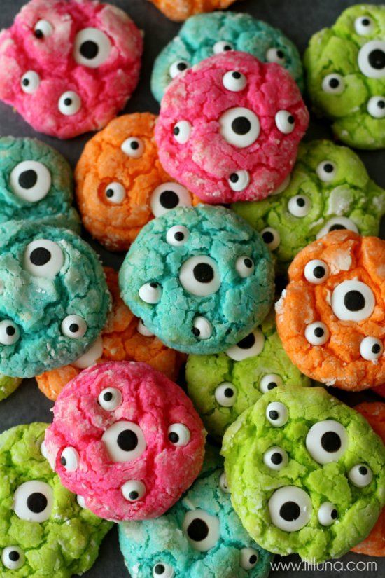 Vibrant Monster Cookies with candy eyes | halloween baking monster cookies scary treats